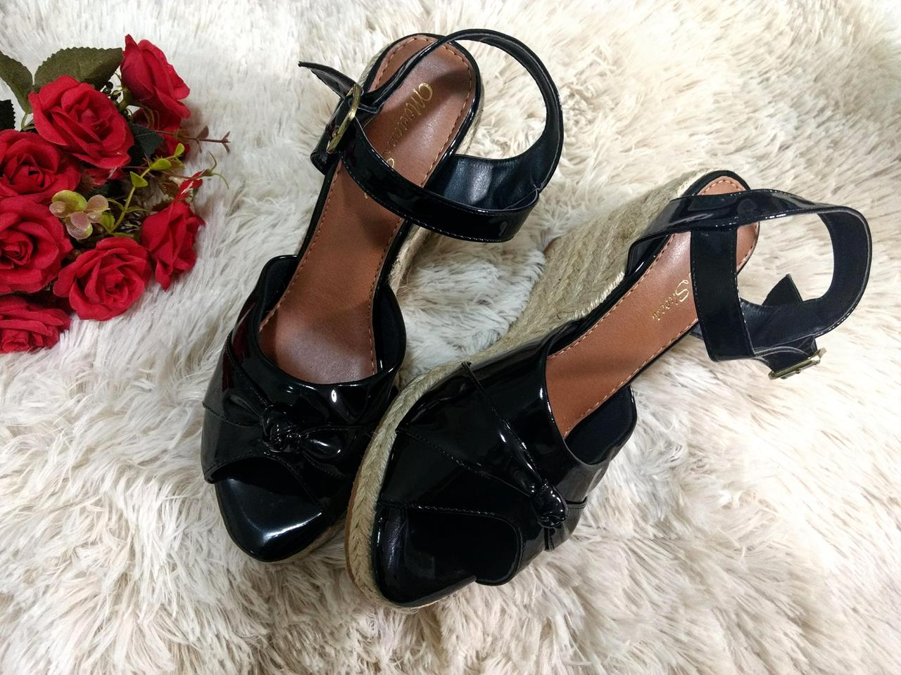6cb2b1b66c Sandália Anabela Espadrille Corda Preto Verniz Mirian Shoes