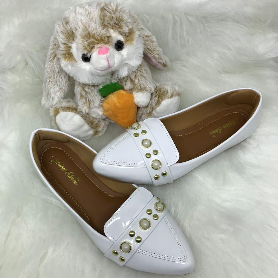 08d06f1b7b Sapatilha Mocassim Feminino Branca Perolas Mirian Shoes