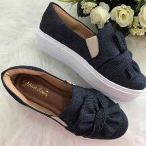 8179e5dfe Tênis Slip On Feminino Sola Alta Jeans Mirian Shoes | Lizlu Sapatilhas