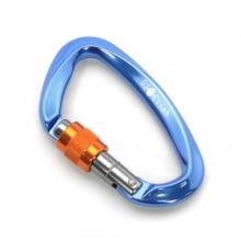 Mosquetão D Assimétrico Trava Rosca Keylock 25 kN Azul CE EN NBR