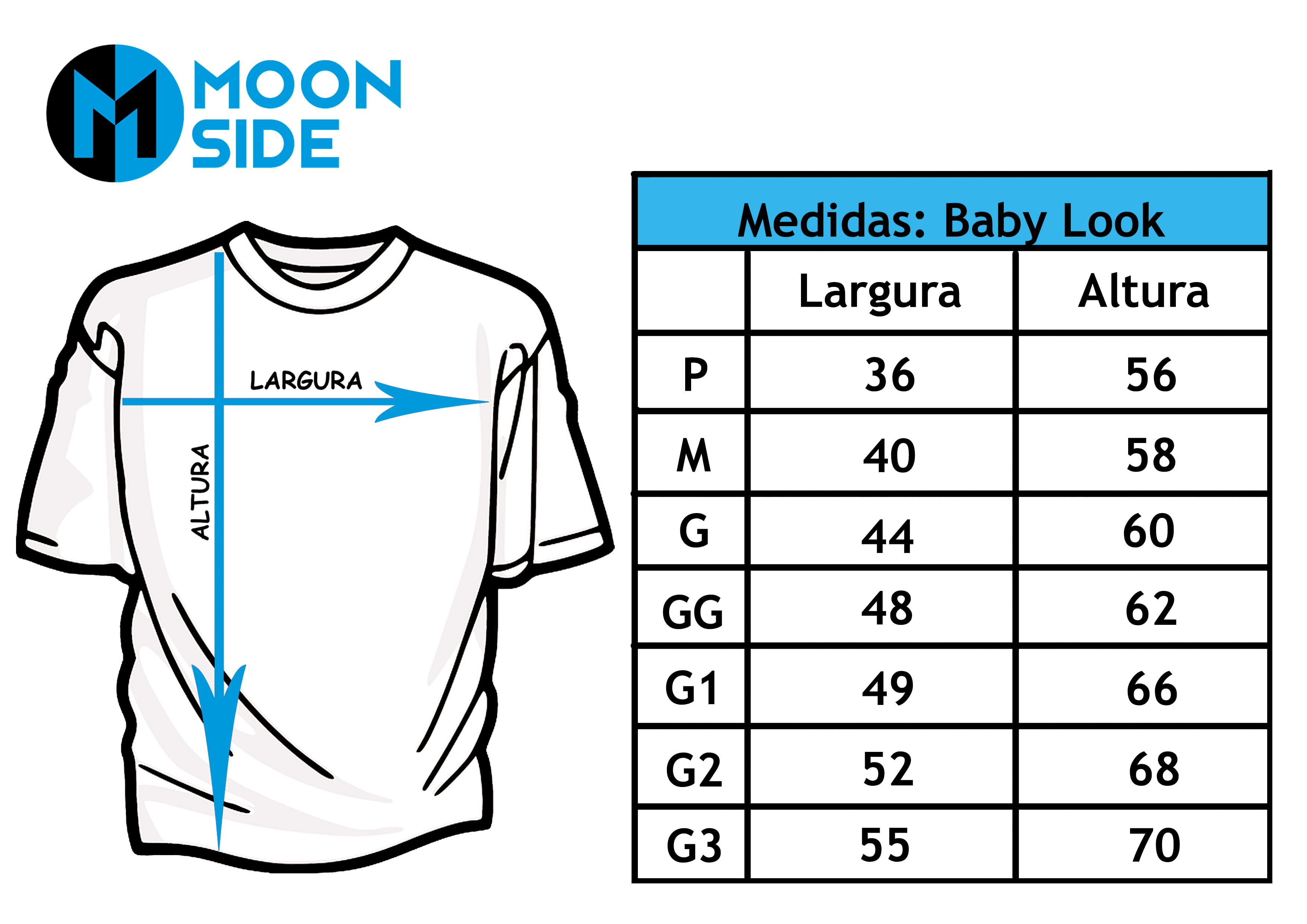 Tabela de Tamanhos Adulto Tradicional  Moon Side Store.
