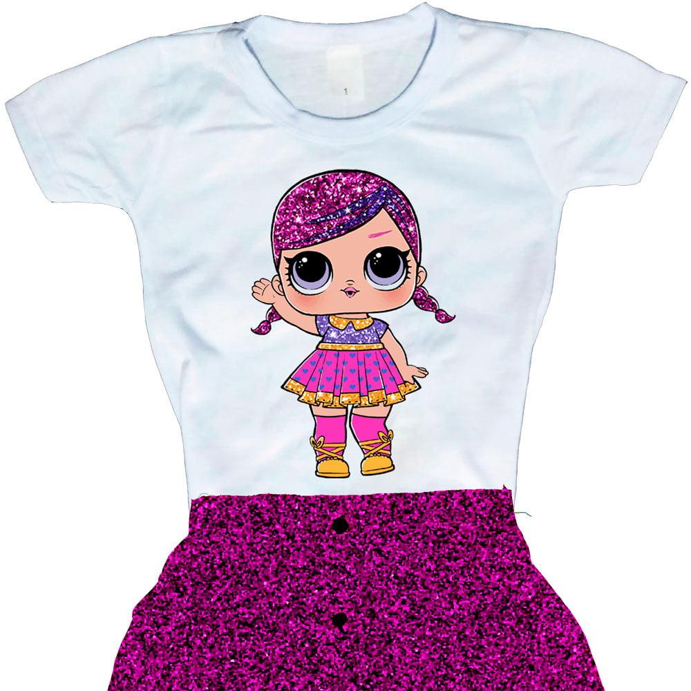 Camiseta Boneca Lol Surprise Super B.B. (Glitter)