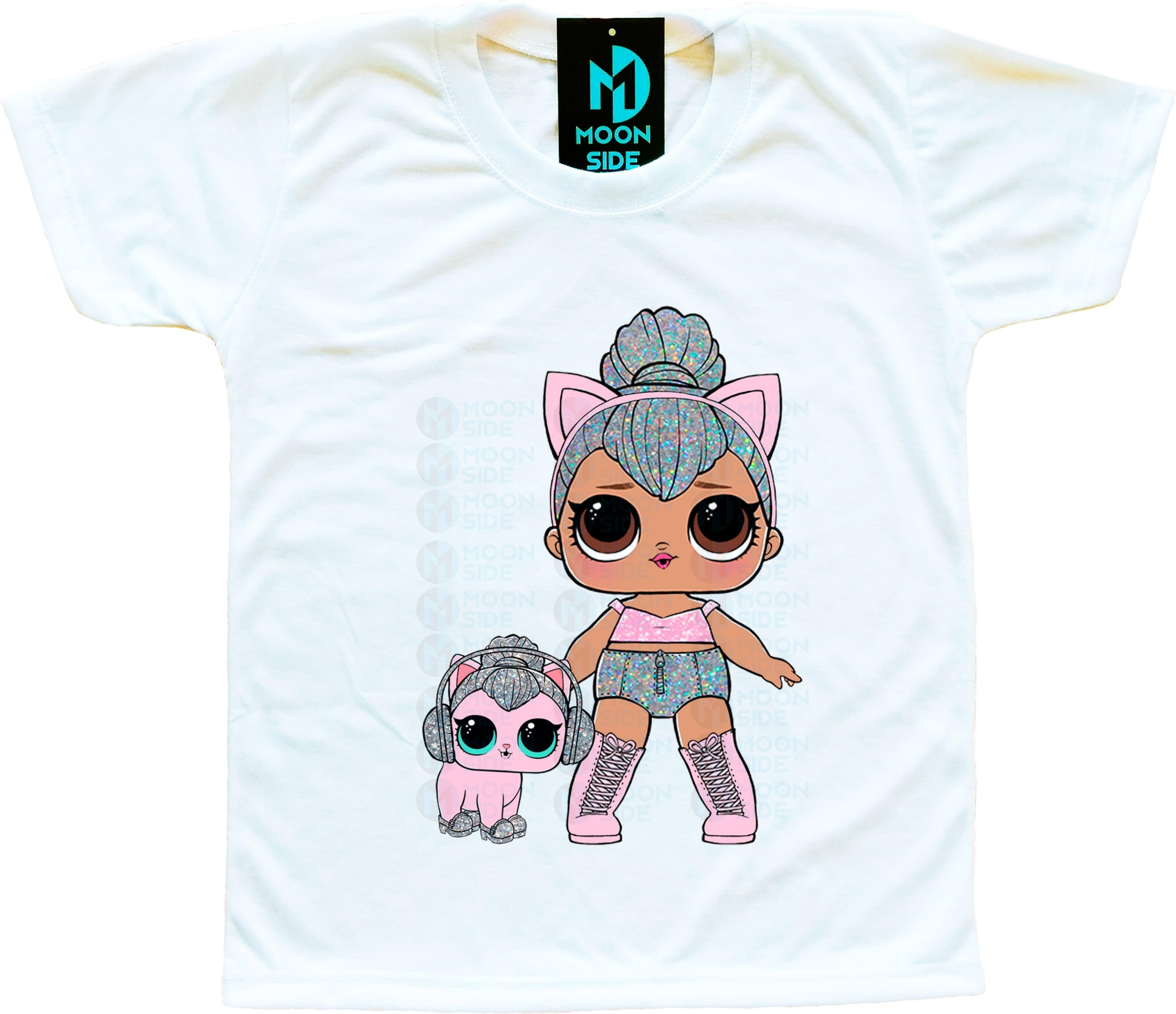 Camiseta Boneca Lol Surprise Kitty Queen e Pet Kitty Kitty