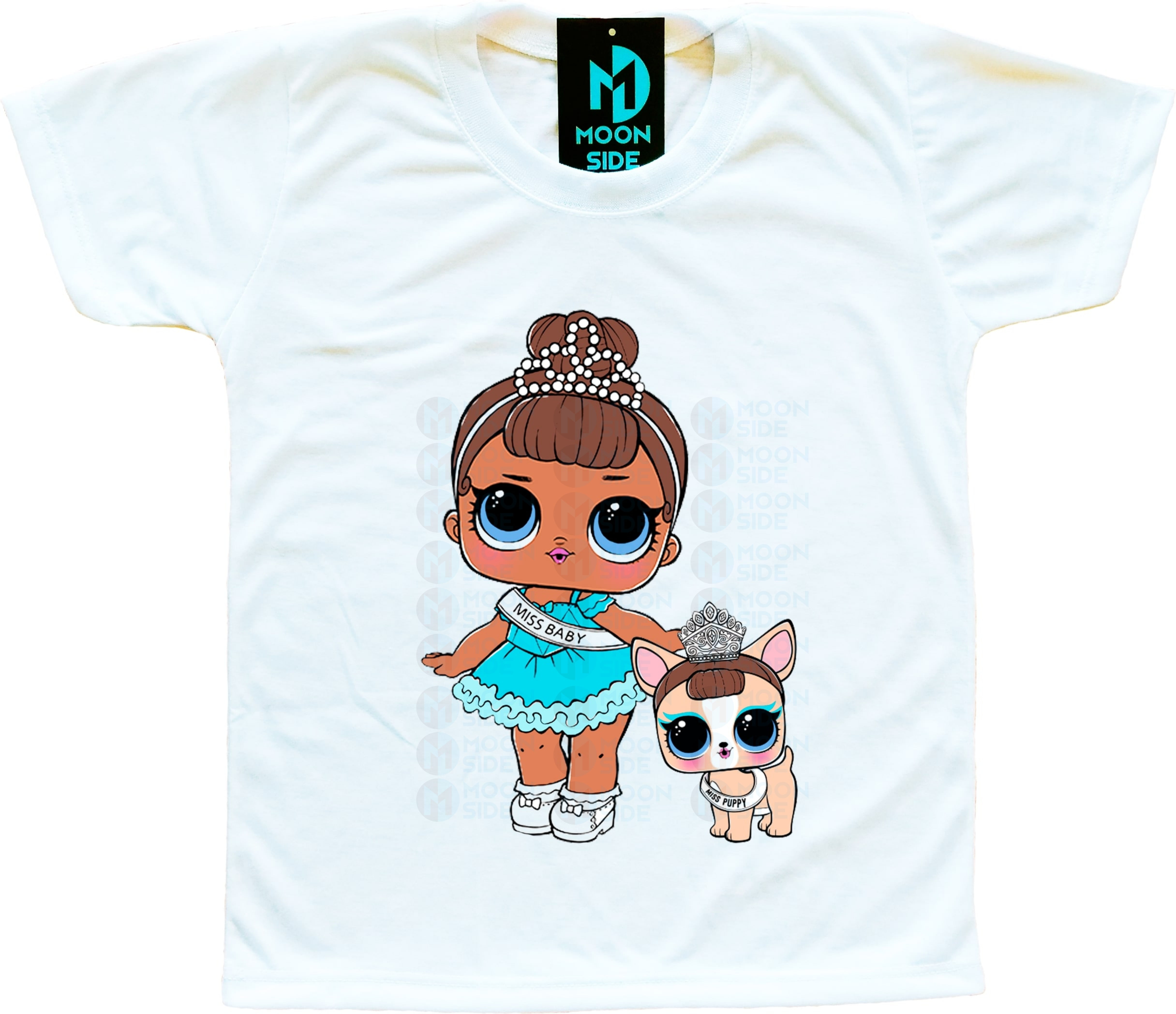 Camiseta Lol Surprise Miss Baby e Pet Miss Puppy