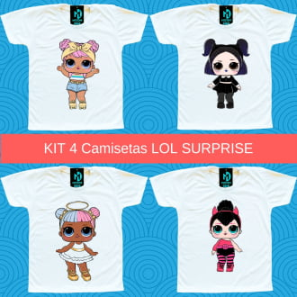 Kit 4 Camisetas LOL Surprise Opposites Club - Dawn e Dusk - Sugar e Spice