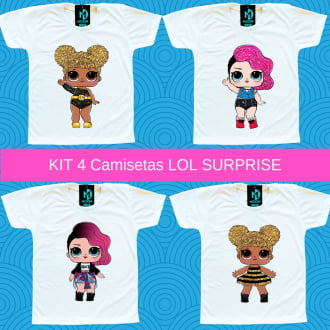 Kit 4 Camisetas LOL Surprise Rocker e Queen Bee