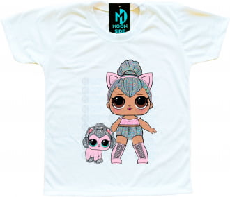 Camiseta Boneca Lol Surprise Kitty Queen e Pet Kitty Kitty