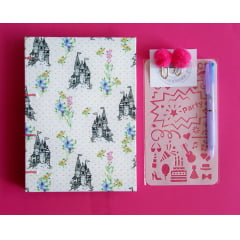 Kit Caderno Sketchbook Castelo Princesa