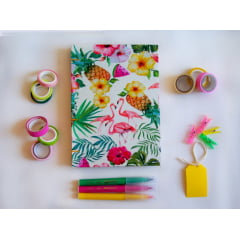 Caderno Sketchbook Tropical Flamingos