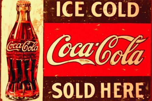 Placa Decorativa Vintage Retro Ice Cold Coca Cola PDV069