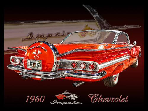 Placa Decorativa Retro Carros Chevrolet Impala 1960 PDV044