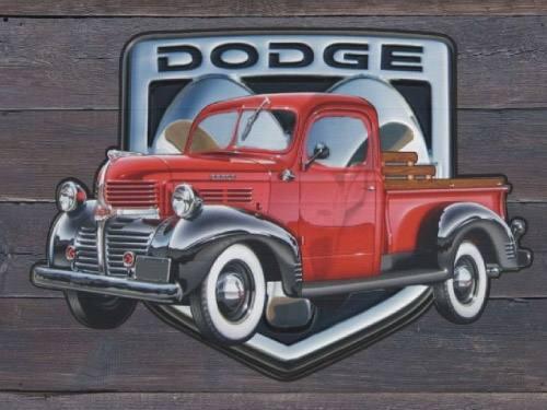 Placa Decorativa Vintage Carros Dodge Pickup PDV182
