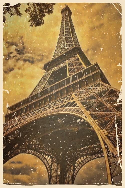 Placa Decorativa Vintage Retro Torre Eiffel PDV072