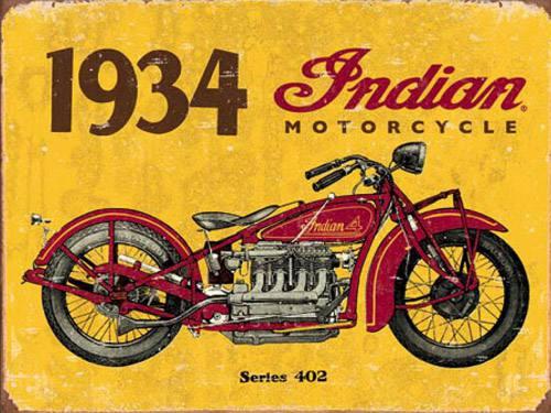 Placa Decorativa Vintage Retro Indian Motorcycles 1934 PDV103