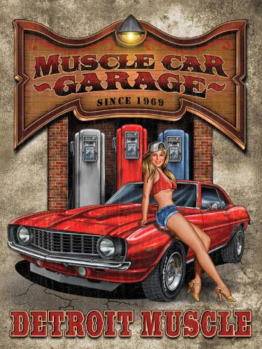 Placa decorativa vintage retro woman muscle car pdv187 for Imagenes retro vintage