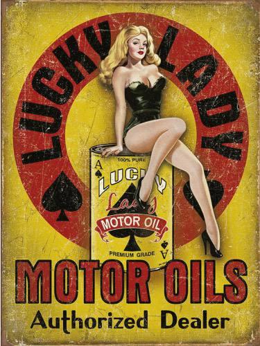 Placa Decorativa Vintage Retro Woman Motor Oil PDV196