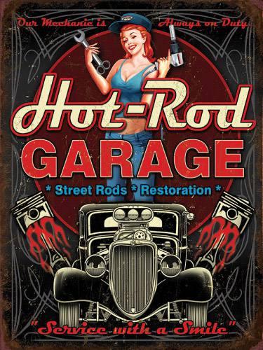 Placa Decorativa Vintage Retro Woman Hot Rod Garage PDV173