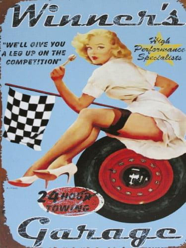 Placa Decorativa Vintage Retro Woman Garage PDV161