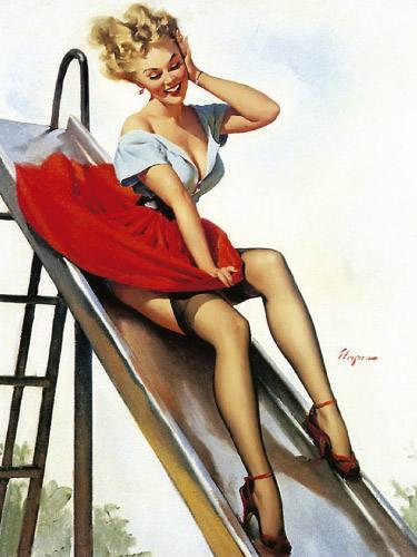Placa Decorativa Vintage Retro Pin Up Mulher Vestido Vermelho PDV148