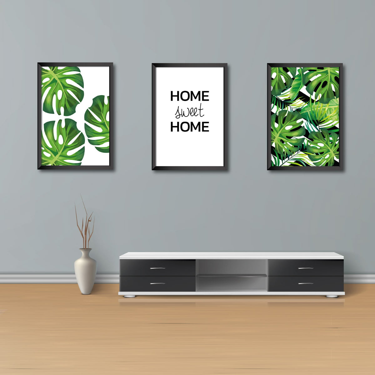 Kit Conjunto 3  Quadros Decorativos Home Swet Home 20X30