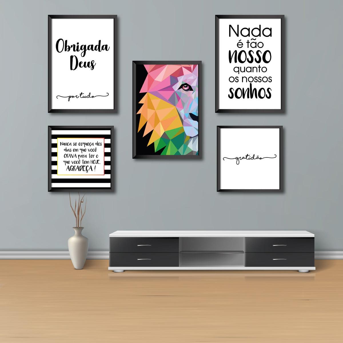 Kit Conjunto 5 Quadros Decorativos Leão Colorido 3  20x30  2 20x20