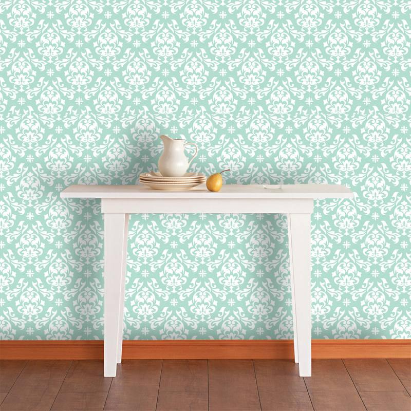 Papel de parede arabesco branco com fundo turquesa suave for Papel pared turquesa