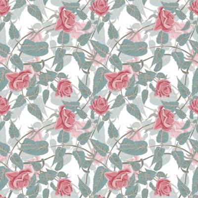 Papel de Parede Estampa de rosas com folhas