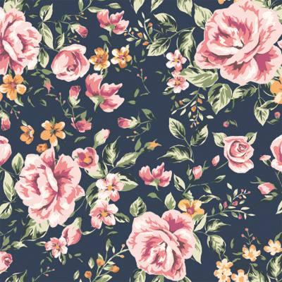 Papel de Parede Floral de Rosas com fundo azul escuro