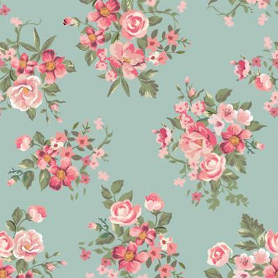 Papel de Parede Estampa Floral com rosas e flores fundo azul