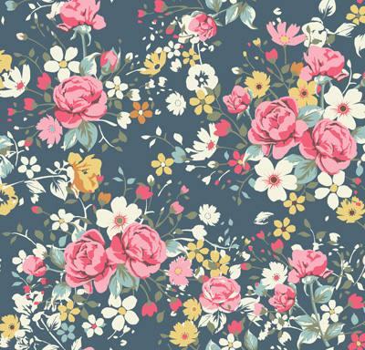 Papel de Parede Floral com Rosas e Flores Brancas Amarelas Fundo Escuro