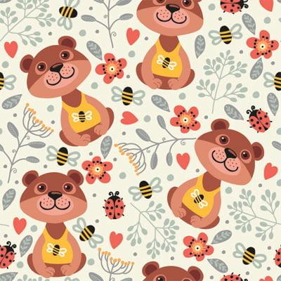 Papel de Parede para quarto infantil ursinho abelhinha