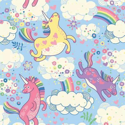 Papel de Parede para quarto de meninas unicornio arco iris