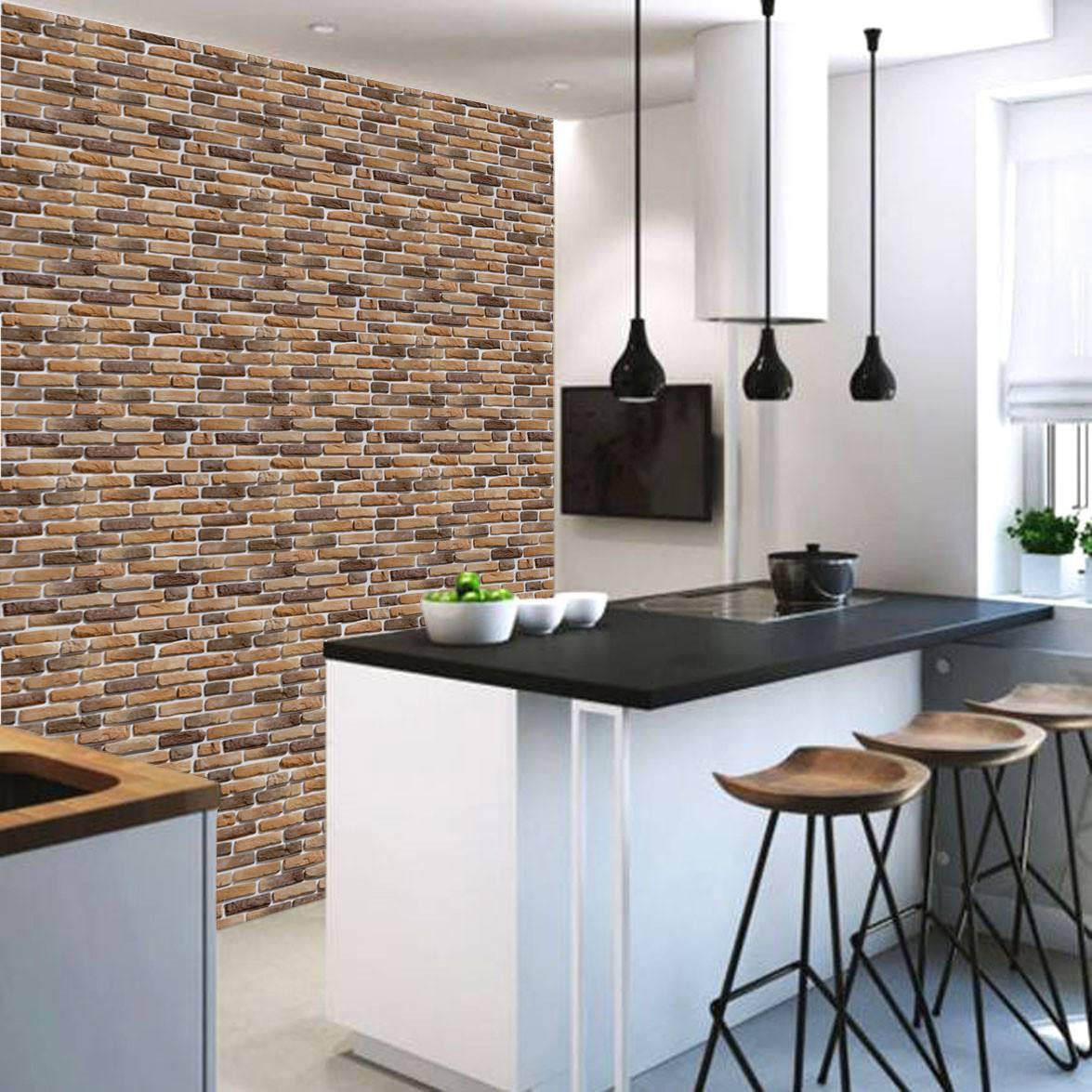 Papel de parede tijolo de demoli o rustico adesivo for Papel para paredes salon