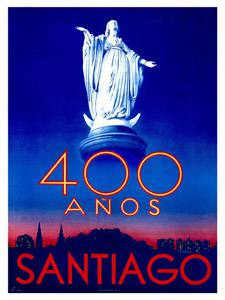 Placa Decorativa Santiago 400 Anos Selo Cartão Postal PDV583