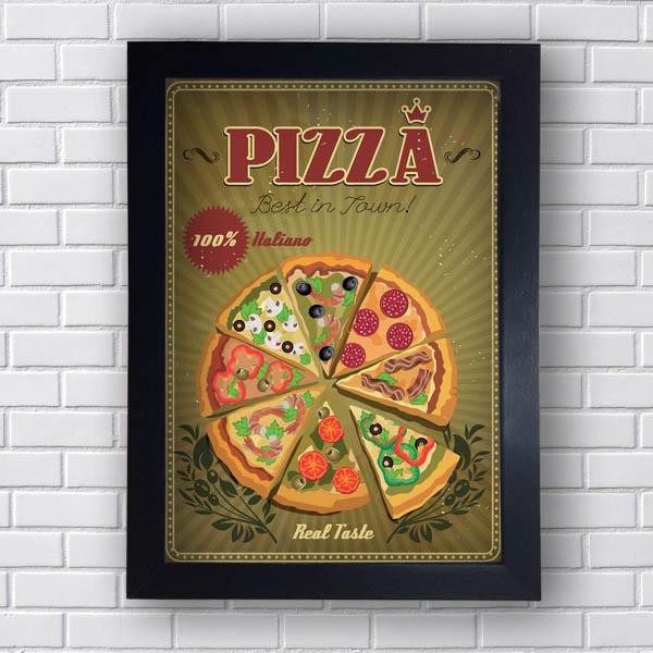 Quadro Decorativo Pizza 100% Italiano