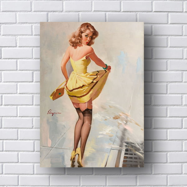 Quadro Pin Up com Vestido Amarelo