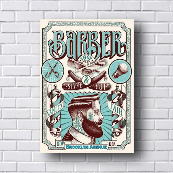 Placa para Barbearia Barber Shop Shave Cut