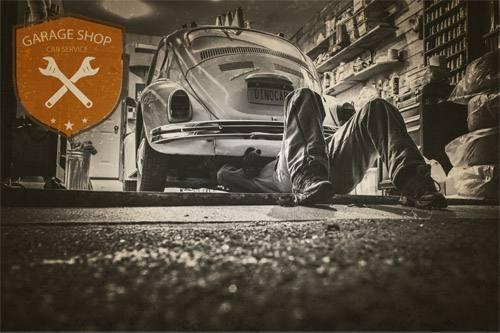Placa Decorativa Vintage Carros Garage Shop Fusca PDV217