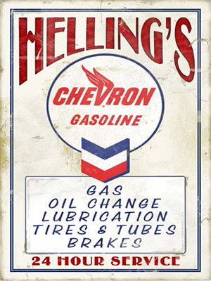 Placa Decorativa Vintage Carros Chevron Gasoline PDV180