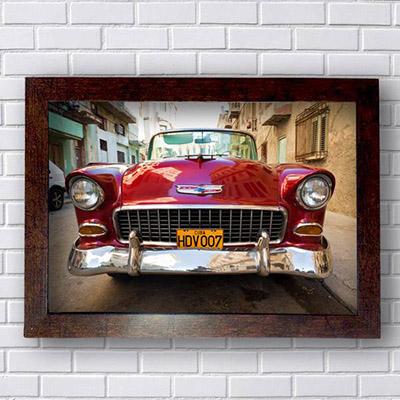 Quadro Decorativo Carro Havana Vermelho Vintage