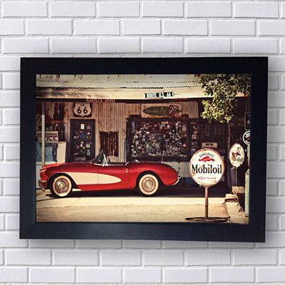Placa Vintage Route 66 Gargoil Carro Vermelho