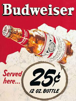 Placa Decorativa Retro Cerveja Budweiser 25c PDV015