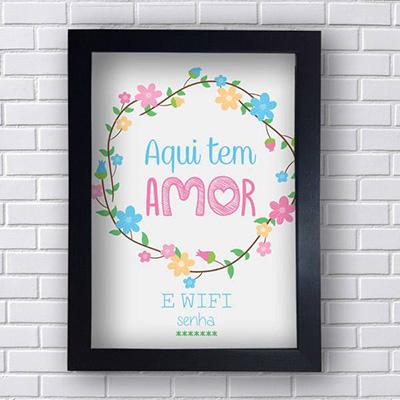 Quadro Decorativo Aqui tem Amor e Wifi