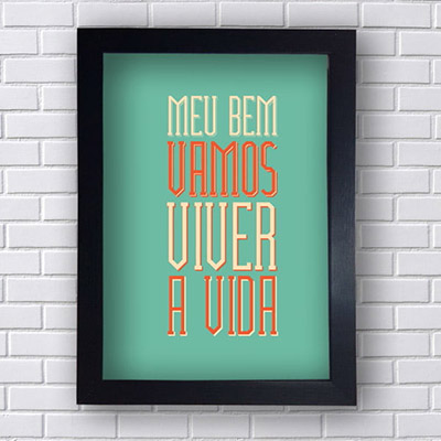 Placa Decorativa Frases Vamos Viver a vida