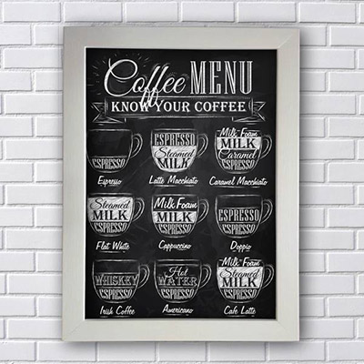 Quadro Decorativo de Frases Coffee Menu