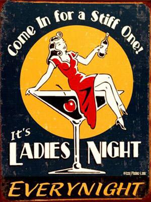 Placa Decorativa Vintage Retro ladies Night PDV147