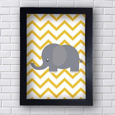 Quadro  Decorativo Elefante Cinza