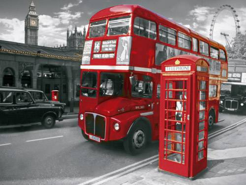 Placa Decorativa Vintage Retro London Bus Telephone PDV134