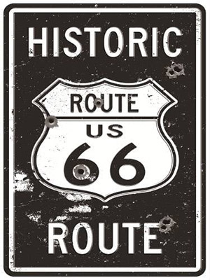 Placa Decorativa Vintage Retro Route US 66 Historic PDV127