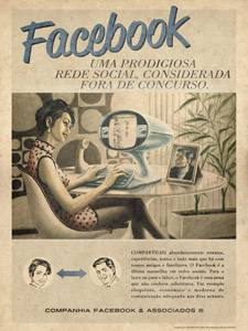 Placa Decorativa Vintage Facebook Retro PDV414